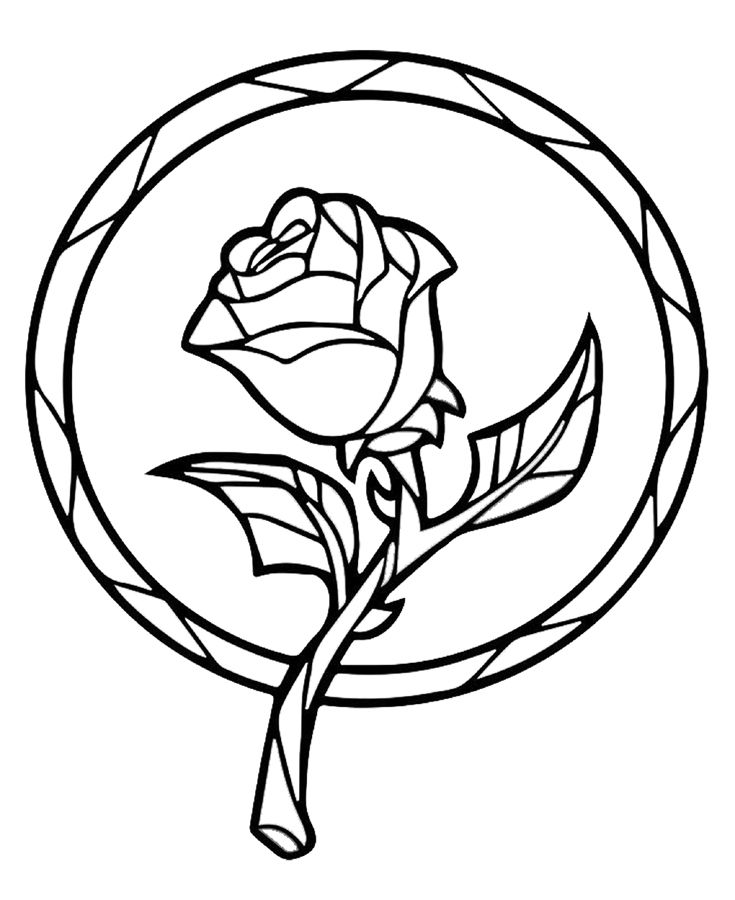 735x900 Beauty And The Beast Enchanted Rose Coloring Book Page Printable