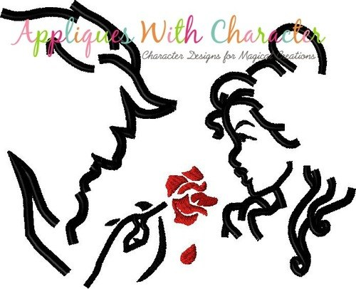 500x406 Beauty And The Beast Silhouette Embroidery Design