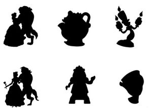 300x212 Beauty And The Beast Silhouettes Edible A4 Icing Sheet Cake