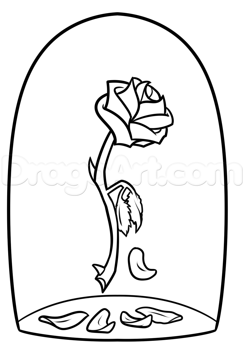 956x1371 Beauty And The Beast Rose Drawing Step 7 Patterns For Crafting