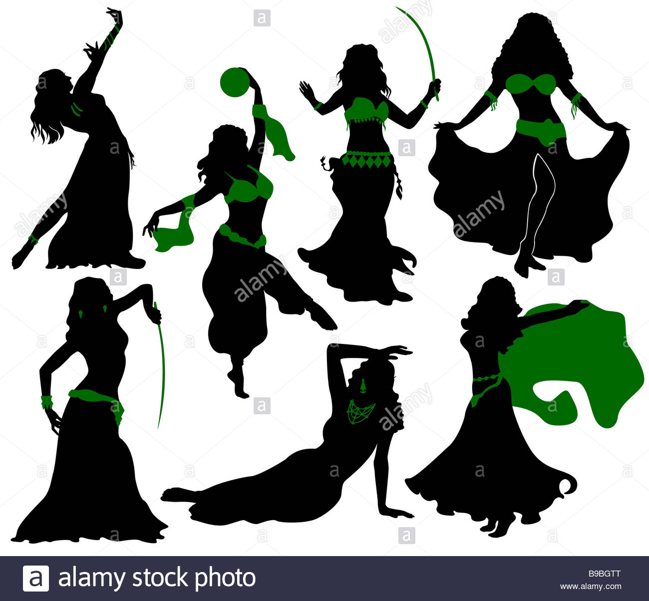 1300x1204 Belly Dance. Silhouettes Of Beauty Dancers Stock Photo 22996984