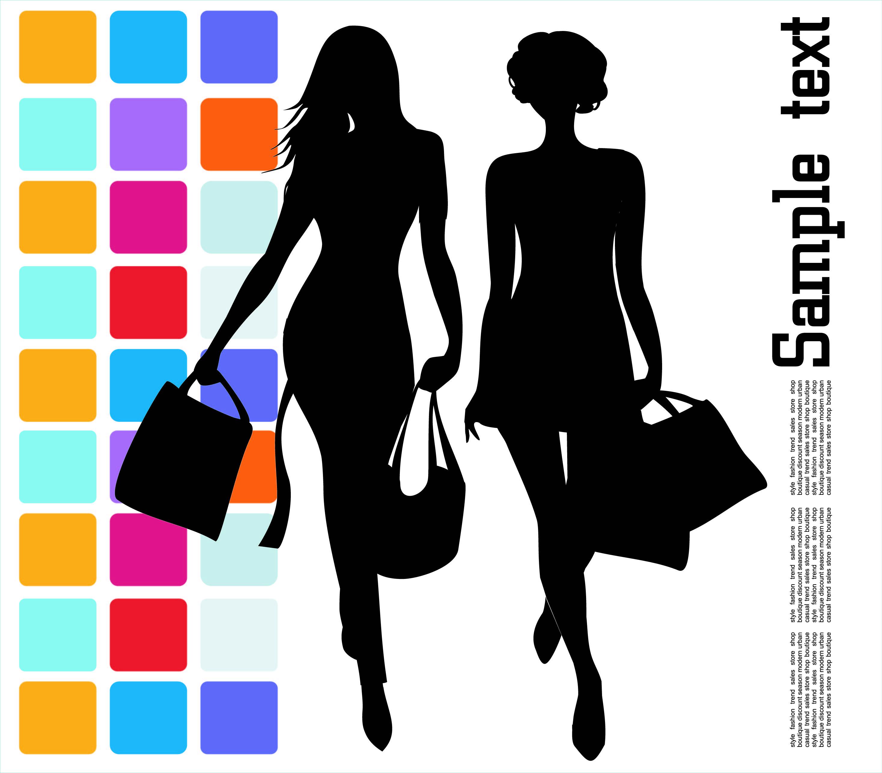 2936x2573 Fashion Shopping Beauty Silhouette 04 Vector Free Vector 4vector