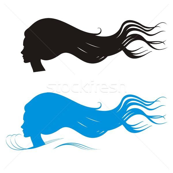 600x599 Long Hair Beauty Silhouettes Vector Illustration Housebrasil