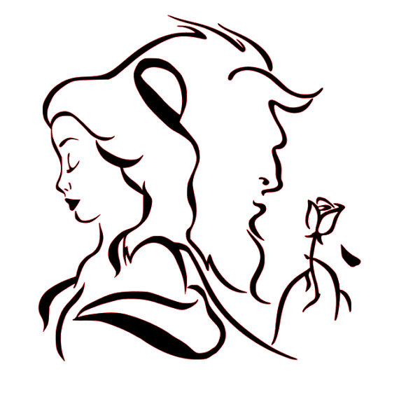 570x577 Svg File Of Beauty And Beast Silhouette