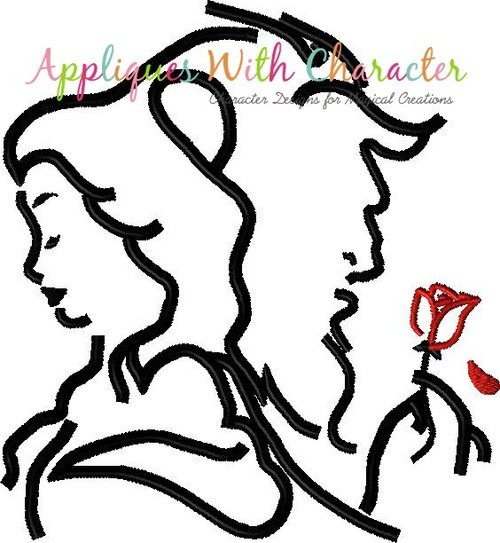 500x543 Beauty And The Beast Silhouette With Rose Embroidery Design