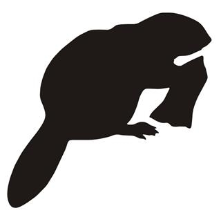 320x311 Beaver Silhouette Decal Sticker