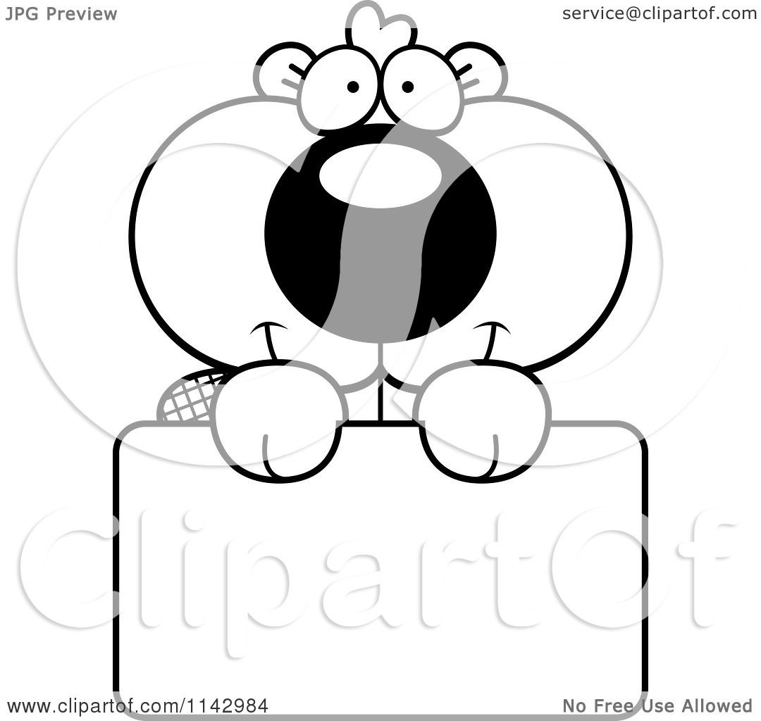 1080x1024 Cartoon Clipart Of A Black And White Cute Beaver Holding A Sign