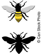 136x178 Bee Yellow Silhouette Vector Illustration Vector Clipart