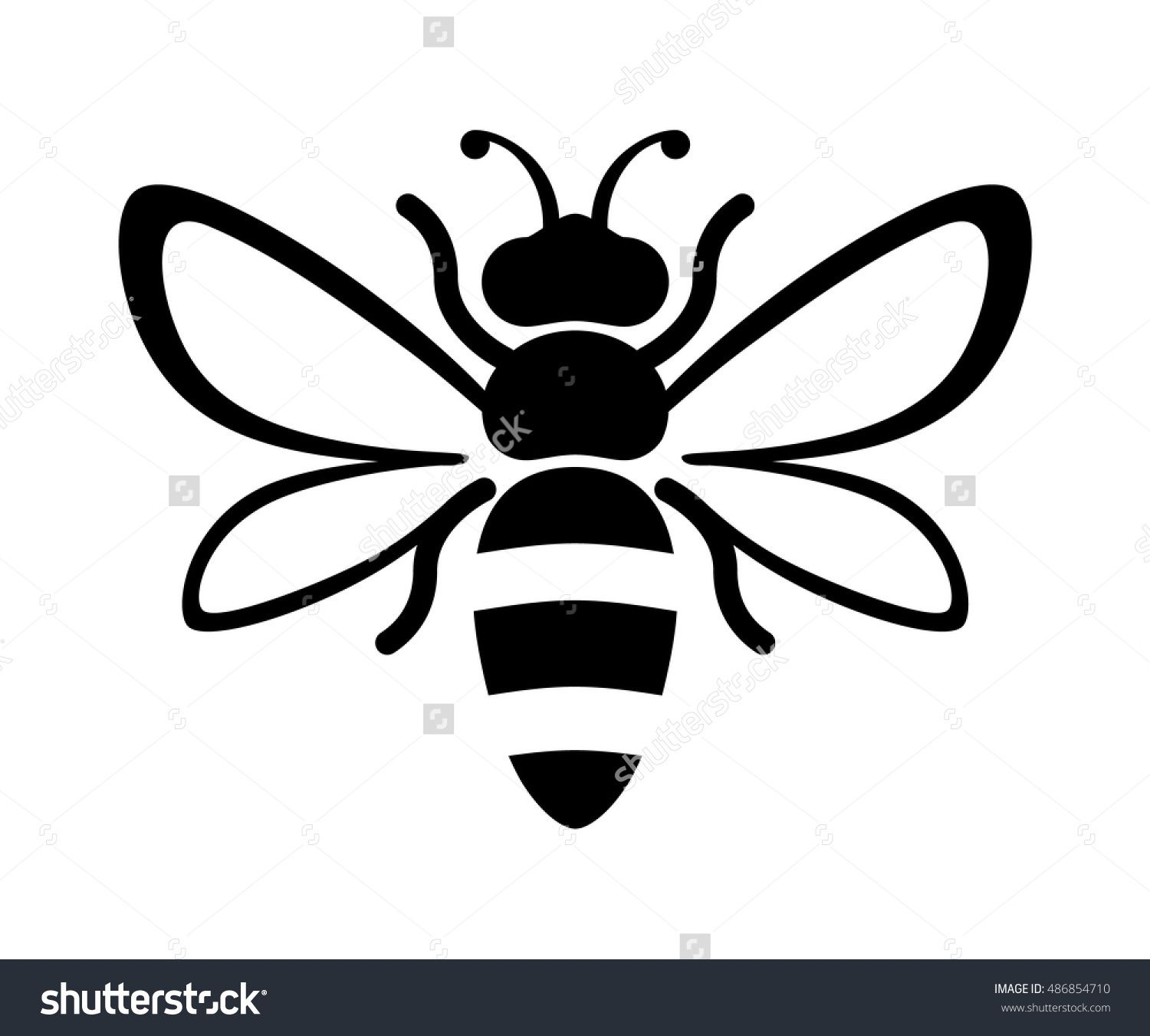 1500x1351 Graphic Illustration Of Silhouette Honey Bee. Isolated
