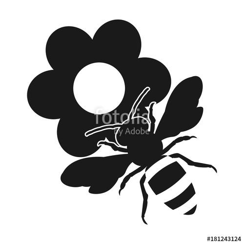 500x500 On The Flowers. Honey Bee. Flat Design Icon Stock Image