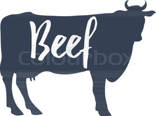 320x238 Trendy Illustration With Red Cow Silhouette And Words Beef, Fresh