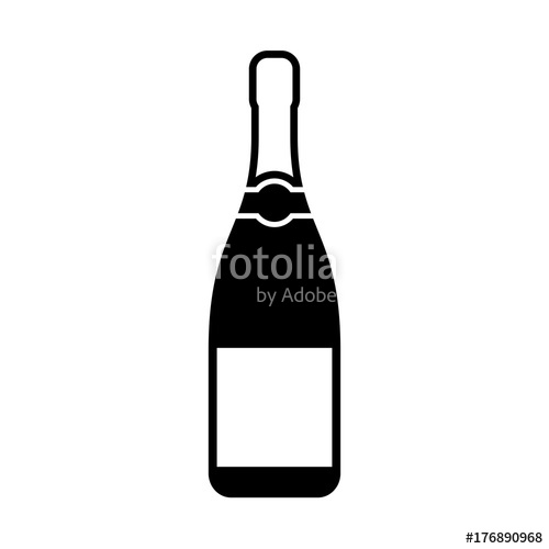 500x500 Champagne Bottle Silhouette Icon Stock Image And Royalty Free