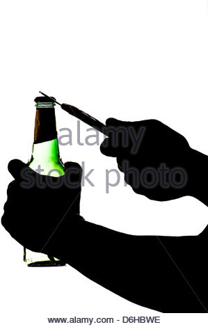 299x470 Silhouette Of A Hand Holding And Opening Beer Stock Photo