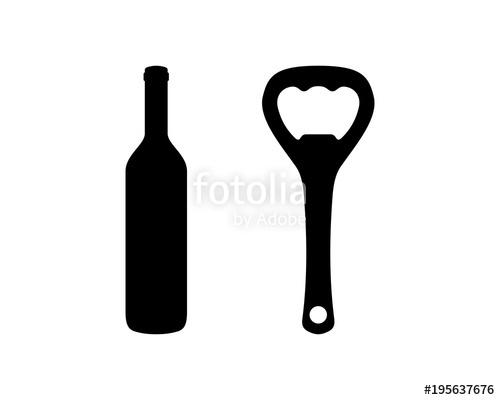 500x400 Beer Bottle And Bottle Opener Sign Symbol Silhouette Vector Stock
