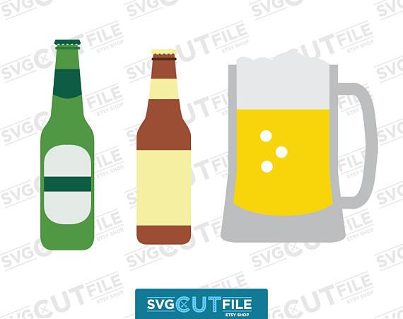 570x451 Beer Bottle Mug Svg, Alcoholic Drink Dxf, Glass Tumbler Stein