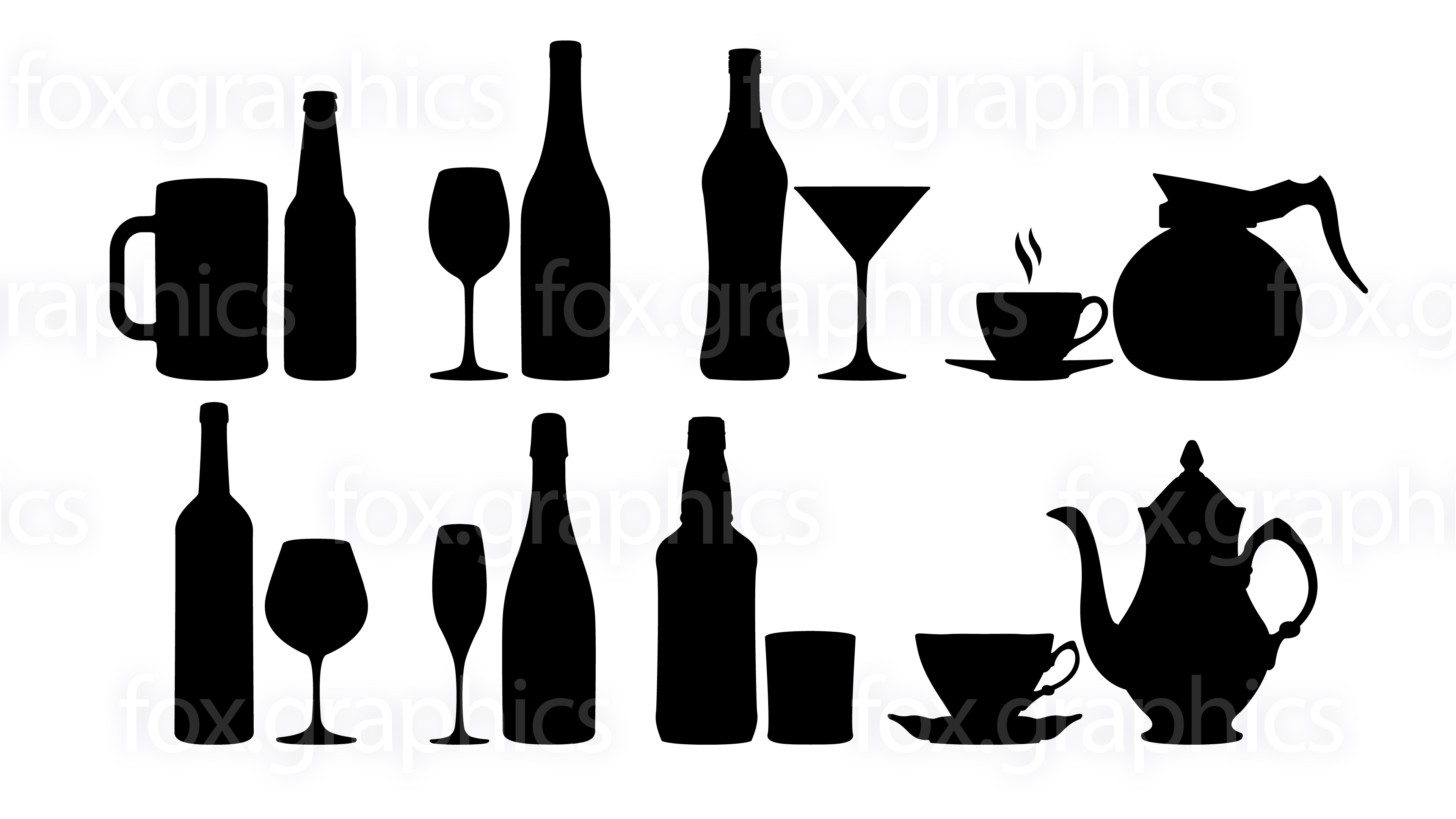 3840x2160 Bottles, Glasses And Cups Vector Symbols