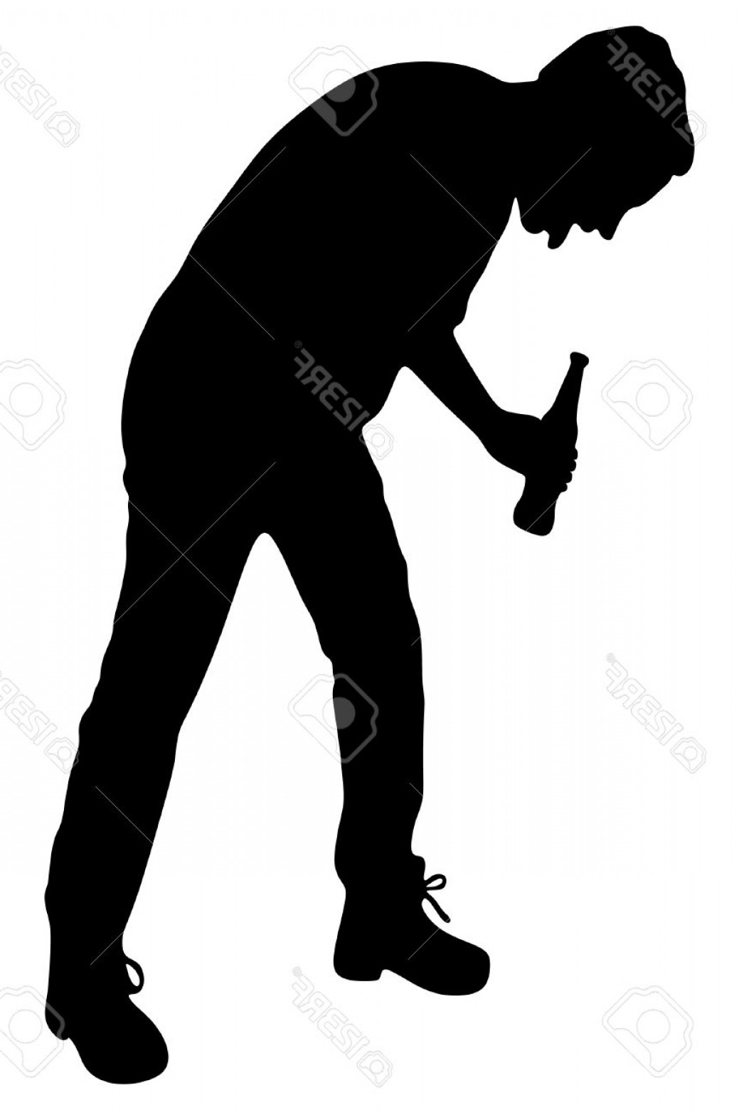 1039x1560 Photostock Vector Silhouette Of A Man With A Beer Bottle Drunk Man
