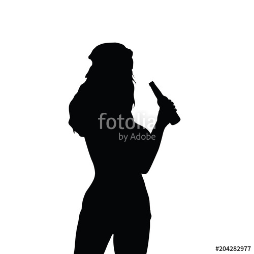 500x500 Girl Silhouette Hold Beer Bottle Stock Image And Royalty Free