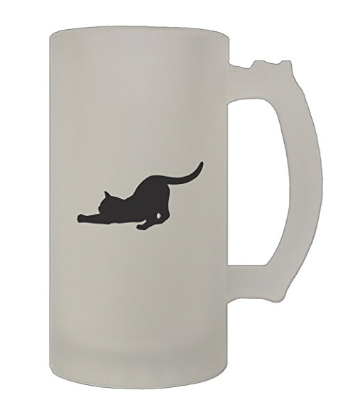 483x587 Tabby Cat Silhouette 16 Oz Frosted Glass Stein Beer