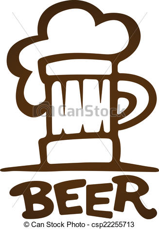 327x470 Sign Of Mug With Beer Contours Silhouette. Eps10 Vector Vector