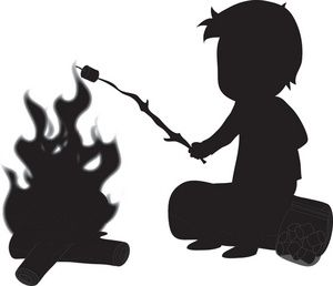 300x258 Camping Clipart Image Silhouette Of A Boy Roasting Marshmallow