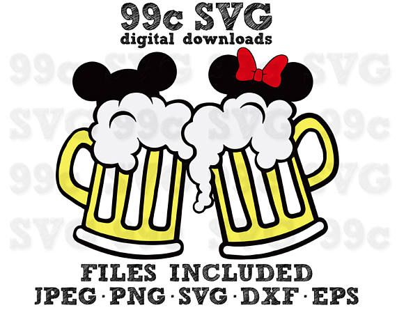 570x445 Mickey Minnie Beer Mugs Svg Dxf Png Vector Cut File Cricut Design