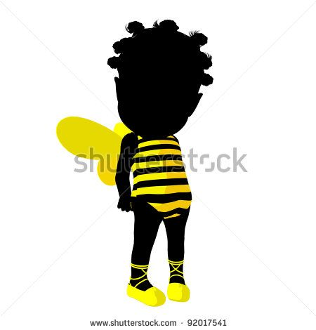 450x470 Little African American Bumble Bee Girl On A White Background