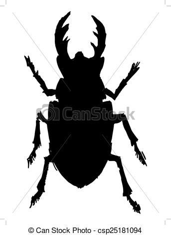 343x470 Black Silhouette Of Stag Beetle Eps Vectors