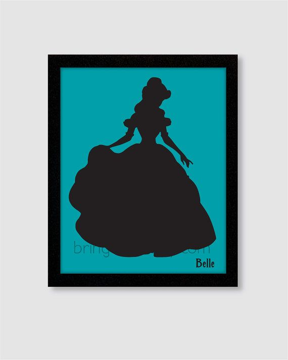 570x713 Princess Belle Silhouette Wall Art Print 8x10 For By Bringcolor