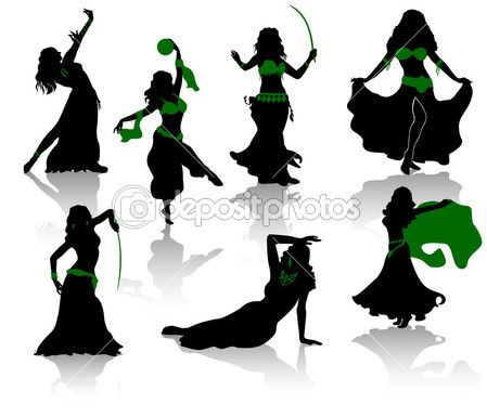 449x385 Bellydance Belly Dance. Silhouettes Of Beauty Dancers. Stock
