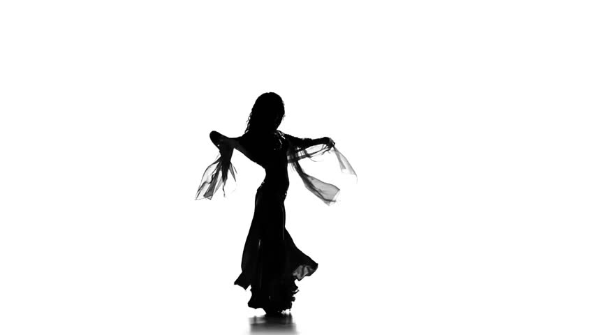 852x480 Exotic Belly Dancer Girl Dance With Two Wings On White, Silhouette