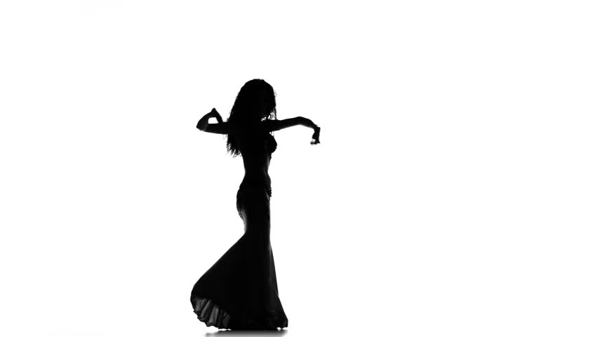 852x480 Exotic Belly Dancer Woman Starts Dance On White, Silhouette Stock