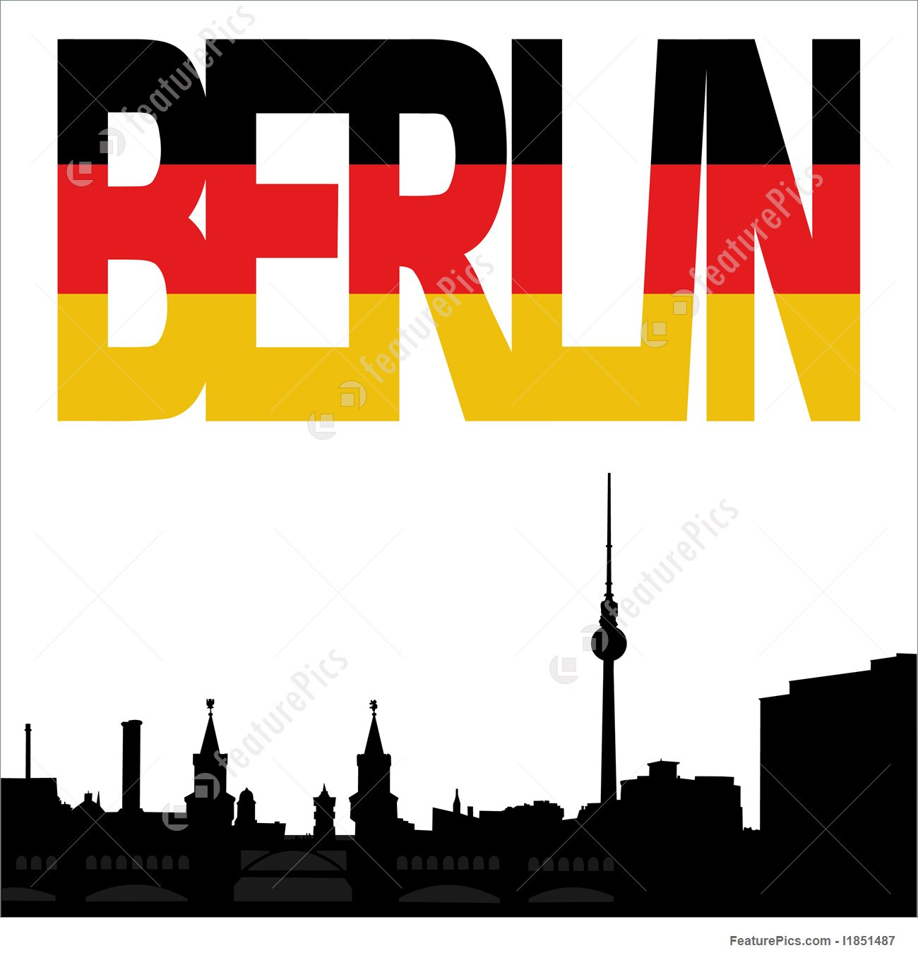 1300x1360 Illustration Of Berlin Skyline With Flag Text