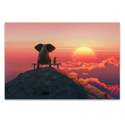 400x400 Best Friends Sunset Wall Art Print, Elephant Photos For Sale