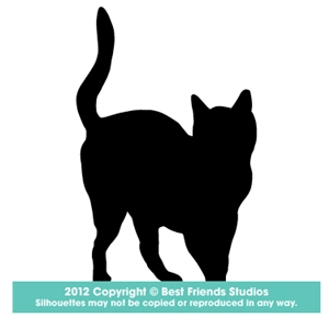 300x300 Standing Cat Silhouette Gifts, Stationery, Address Labels, Note