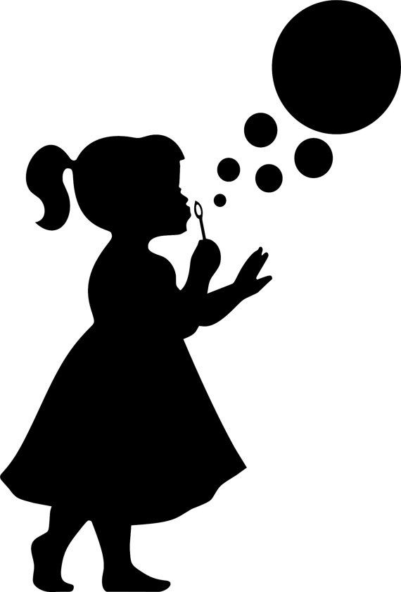 570x841 Clipart Little Girl Silhouette