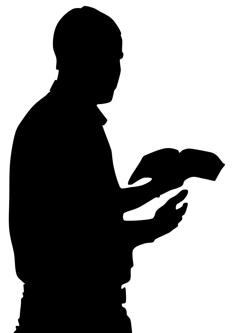 810x1152 Man With Bible In Hand Silhouette Clipart