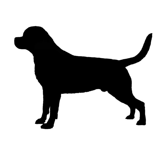 600x600 Rottweiler Silhouette Vinyl Sticker Decal