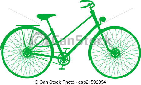 450x271 Silhouette Of Vintage Bicycle In Green Design On White Clipart
