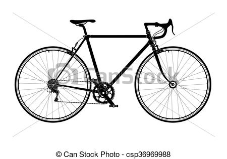 450x317 Classic Mens Town, Road Bike Silhouette, Detailed Vector Vector