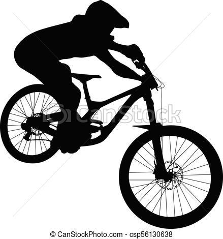 439x470 Athlete Mtb Downhill Bike Black Silhouette Vectors