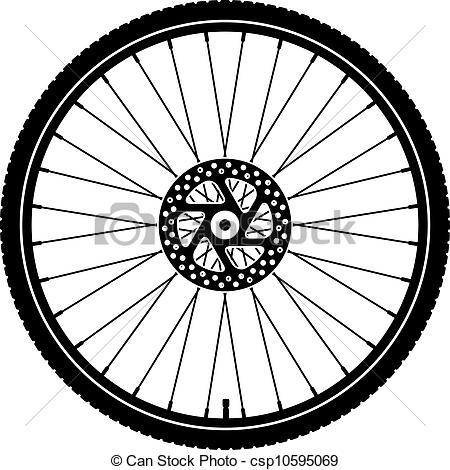 450x470 Vector Bike Wheel Black Silhouette Clip Art Vector
