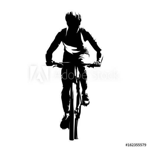 500x500 Mountain Biker, Front View, Abstract Vector Silhouette. Cycling