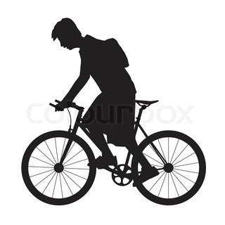 320x320 Silhouette Boy Ride Bicycle Stock Vector Colourbox