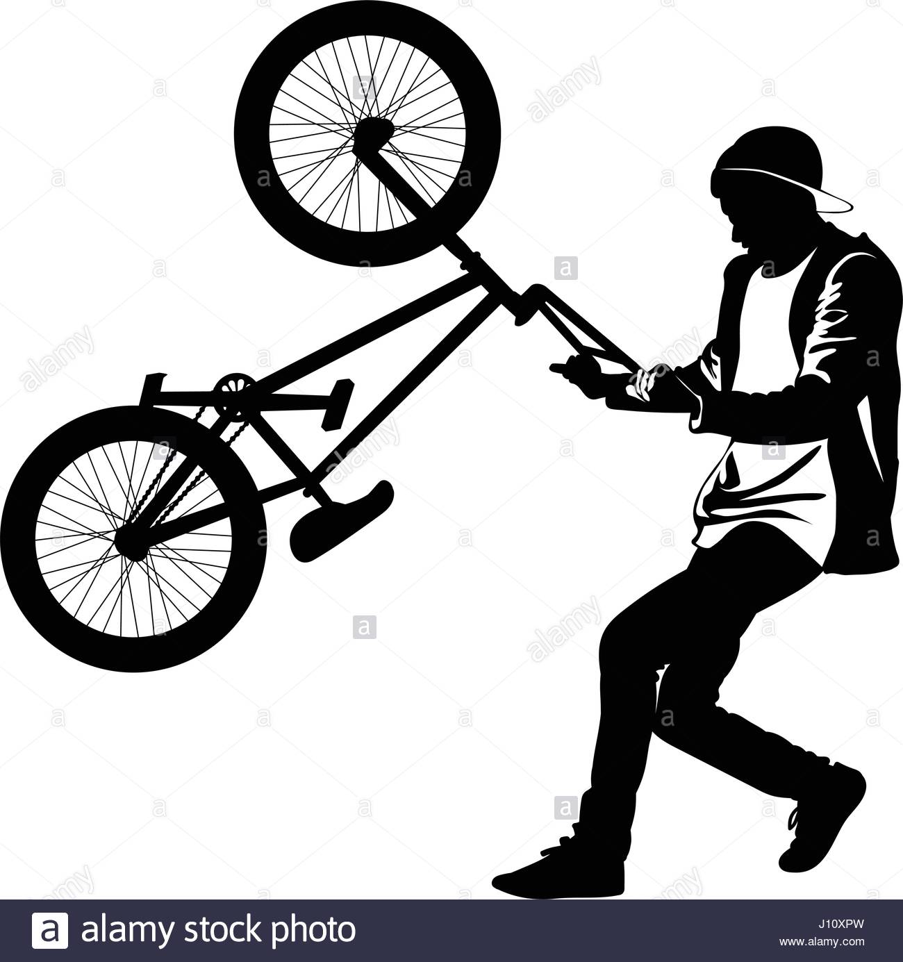 1300x1385 Silhouette Of A Teenager With A Bicycle Standing On The Rear Wheel