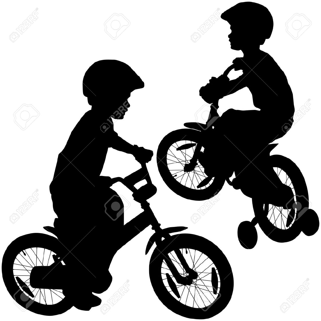 1300x1300 Boy Bicycle Silhouette Royalty Free Cliparts, Vectors,
