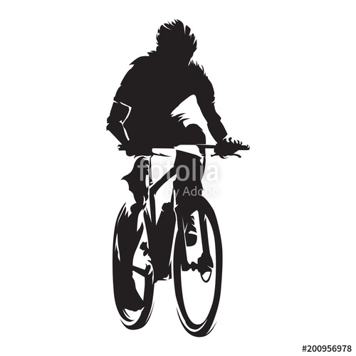 500x500 Mountain Biker, Cycling, Isolated Vector Silhouette Stock Image