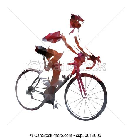 450x470 Road Cyclist, Abstract Geometric Vector Silhouette Vector Clipart