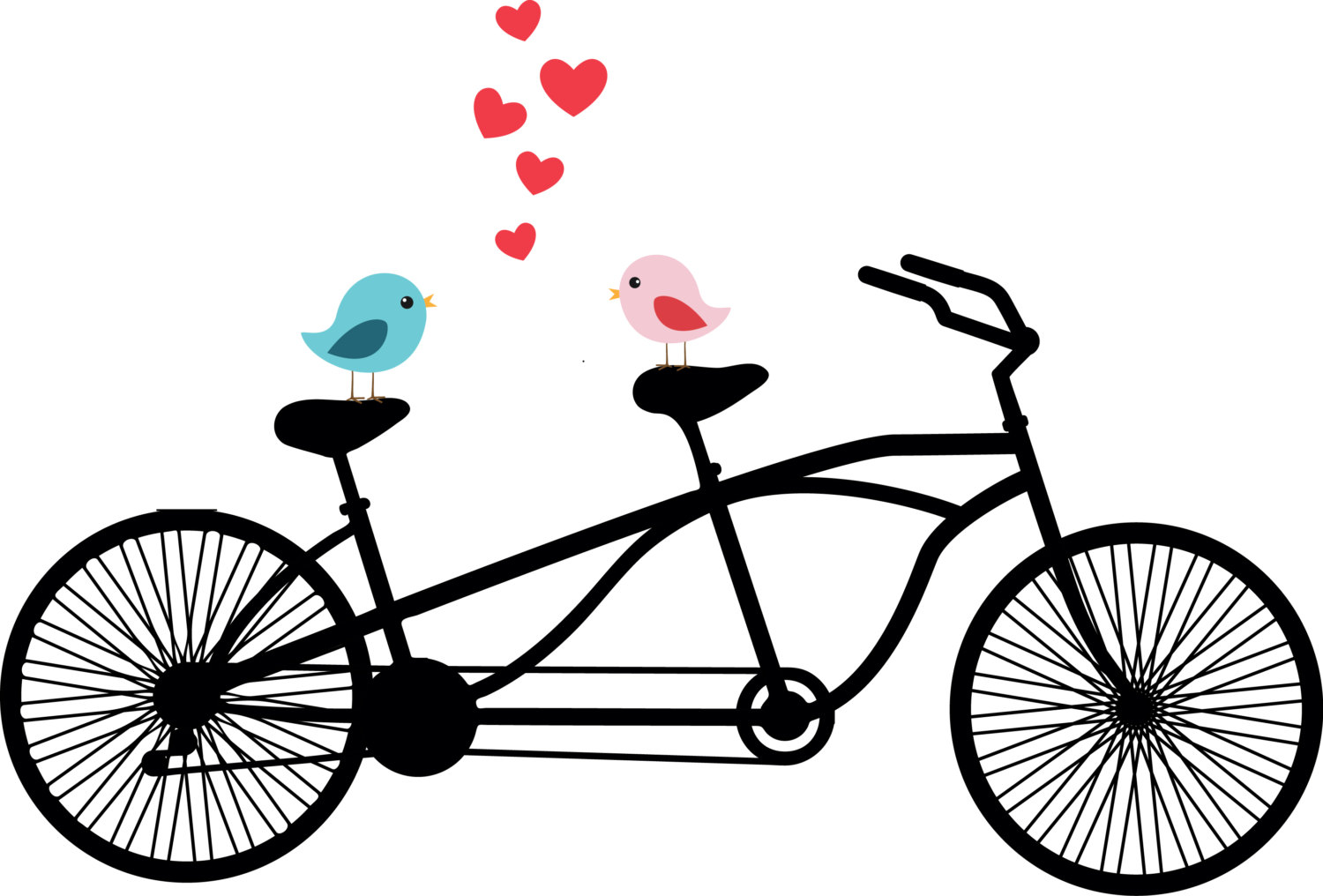 1500x1016 Tandem Bicycle Clipart, Love Birds, Wedding Invitation Clipart