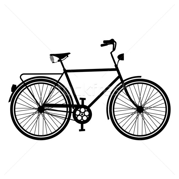 600x600 Vintage Bike Silhouette Isolated Bicycle Vector Illustration